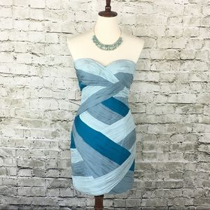 Bebe Blue Silk Cocktail Dress